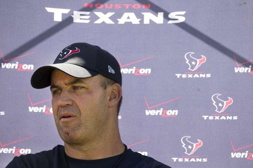 Texans head coach Bill O'Brien speaks to the media following a joint practice.