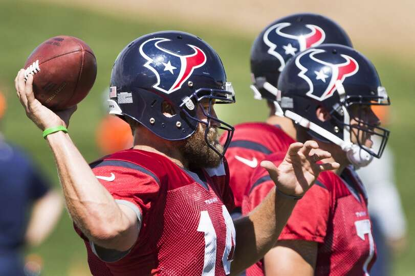 Texans quarterback Ryan Fitzpatrick (14) throws a pass.
