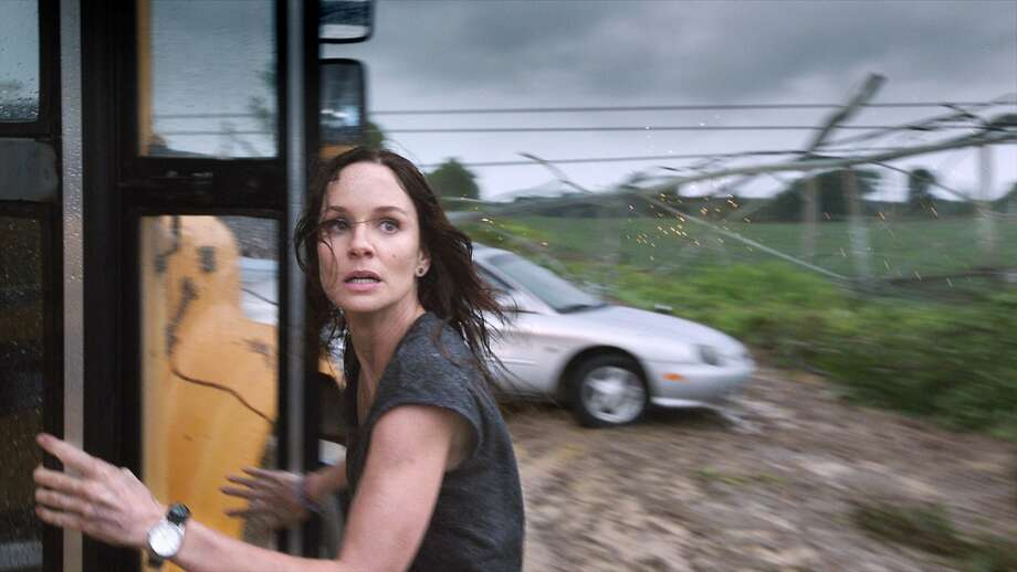 "Sarah Wayne Callies in ""Into the Storm"" with its fine weather-disaster special effects. Photo: Associated Press"