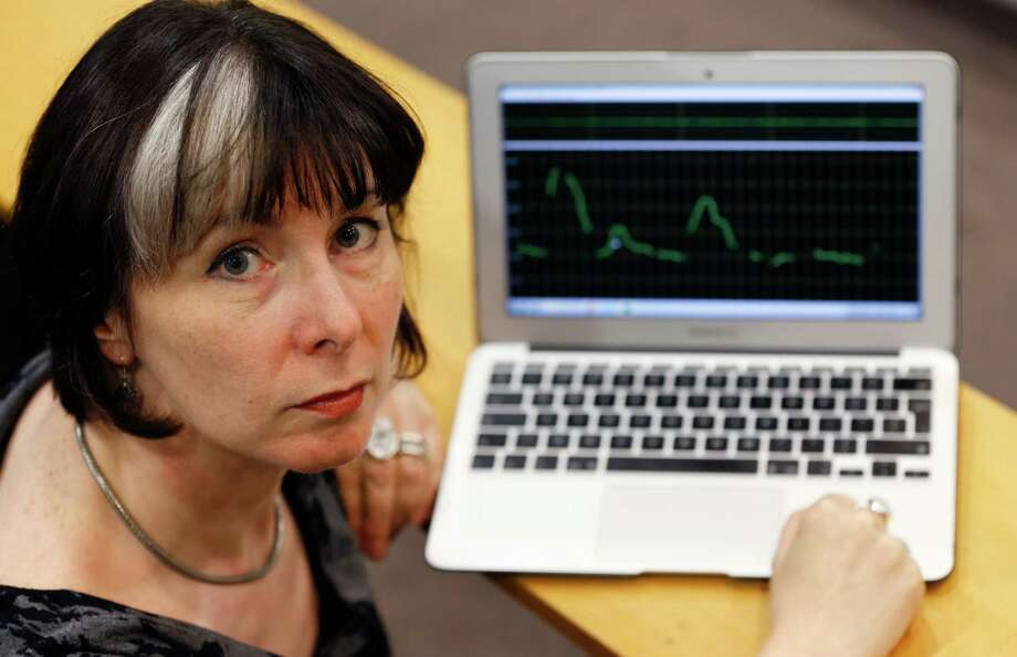 Jane Setter, professor of phonetics at the University of Reading, shows the analytical program she ran on the voice of the man who speaks on a video before killing James Foley.  Setter said the man's education  was likely rooted in the U.K Photo: Kirsty Wigglesworth, STF / AP