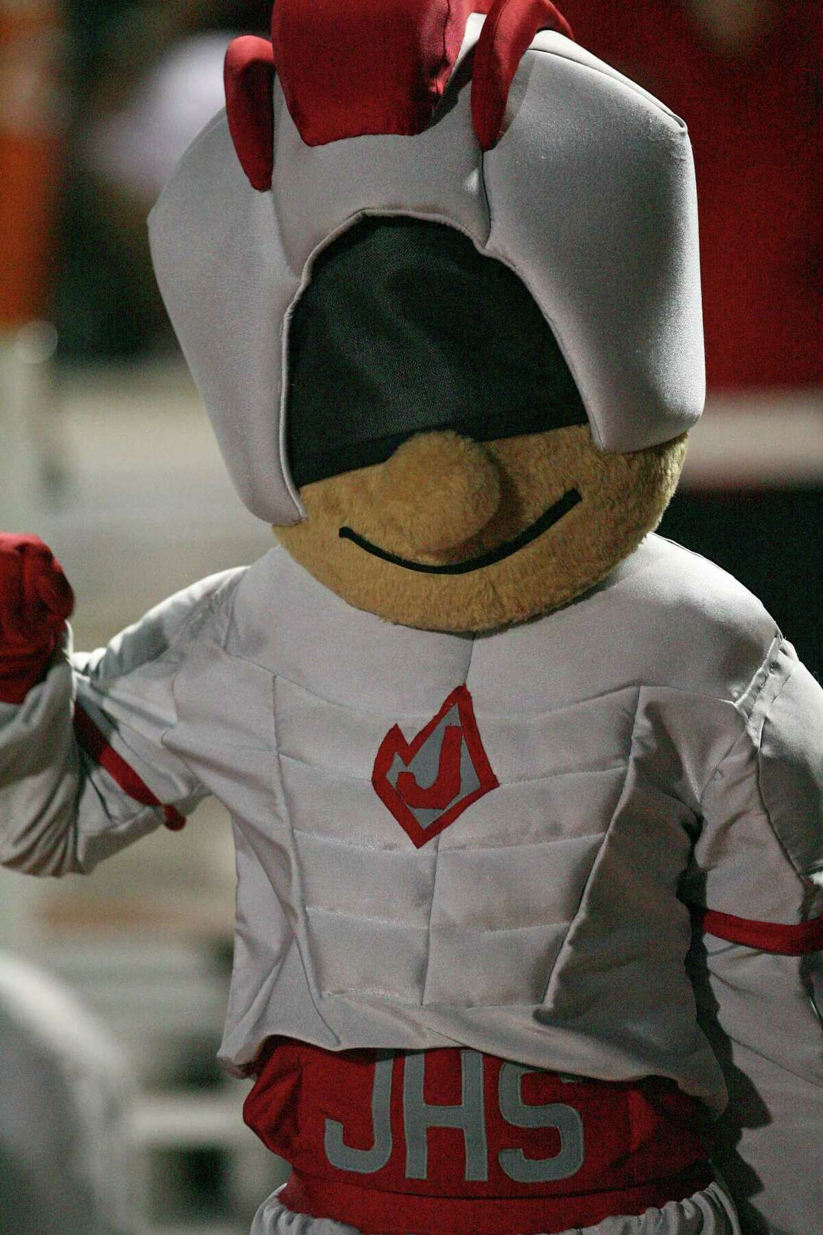 The Judson Rockets' mascot is seen at a football game against Roosevelt at Comalander Stadium on Oct. 5, 2007.