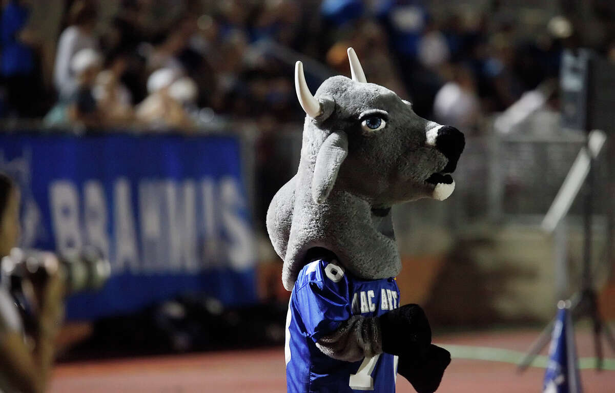 The MacArthur Brahmas' mascot strolls the sidelines during a football game against Smithson Valley at Heroes Stadium on Oct. 2, 2009.