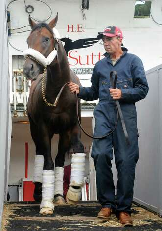 Travers Stakes contender Bayern, trained by Bob Baffert, arrives from California on a  Boeing 727 cargo aircraft at Albany International Airport on Wednesday Aug. 20, 2014 in Colonie, N.Y. (Michael P. Farrell/Times Union) Photo: Michael P. Farrell / 00028269A