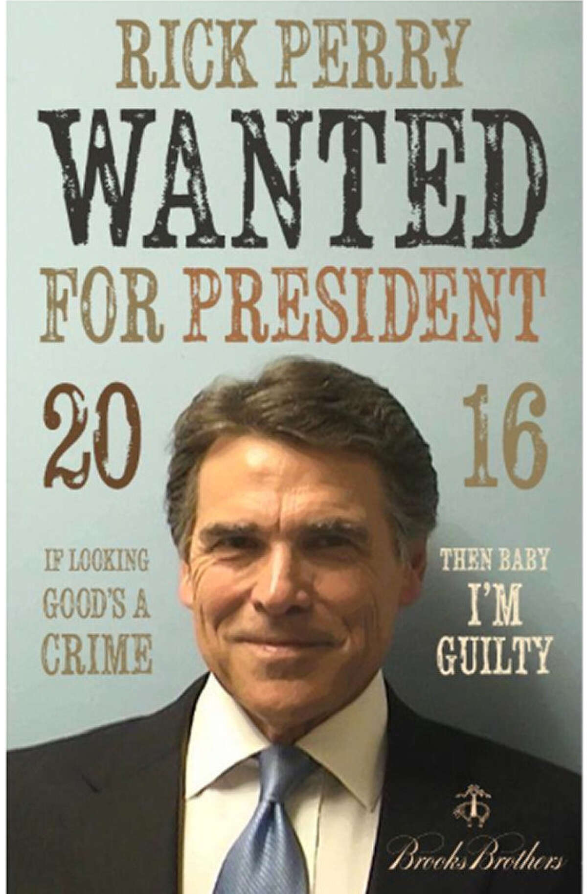 """Conservative Los Angeles street artist Sabo Davis made a rendering of Rick Perry's mug shot, explaining: """"I appreciate Perry's moxy for walking in, smiling, and walking the hell out. And he looked good doing it."""""""
