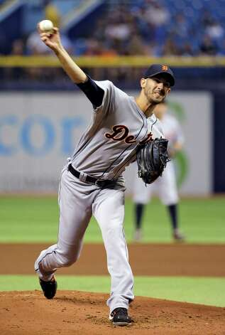 Detroit Tigers starting pitcher Rick Porcello delivers to the Tampa Bay Rays during the first inning of a baseball game Wednesday, Aug. 20, 2014, in St. Petersburg, Fla. (AP Photo/Chris O'Meara)  ORG XMIT: SPD101 Photo: Chris O'Meara / AP