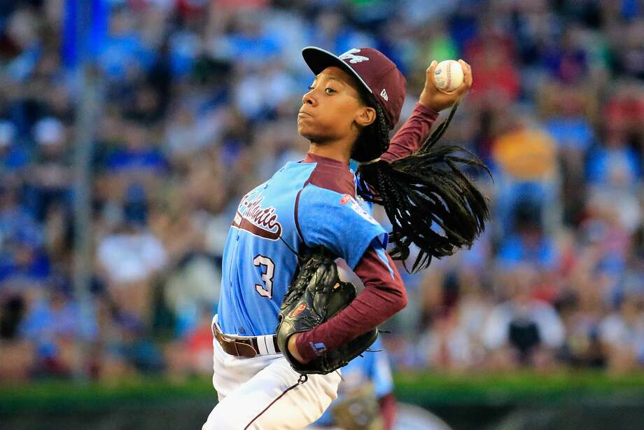 SOUTH WILLIAMSPORT, PA - AUGUST 20: Mo'ne Davis #3 of Pennsylvania pitches to a Nevada batter during the first inning of the United States division game at the Little League World Series tournament at Lamade Stadium on August 20, 2014 in South Williamsport, Pennsylvania.  (Photo by Rob Carr/Getty Images) Photo: Rob Carr, Getty Images