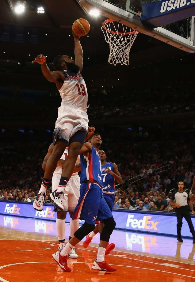 United States 105, Dominican Republic 62  James Harden dunks against the Dominican Republic during their game at Madison Square Garden. Photo: Al Bello, Getty Images