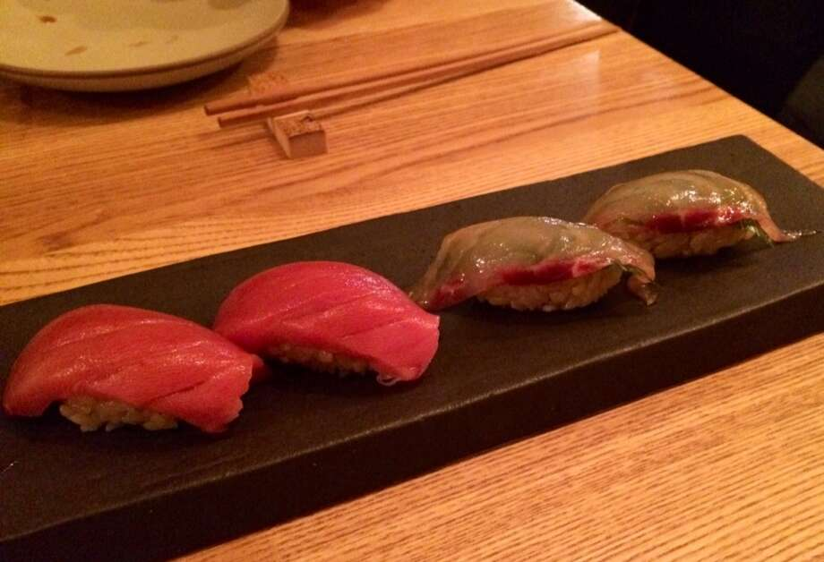 Black fin tuna and snapper with a hint of cherry blossoms