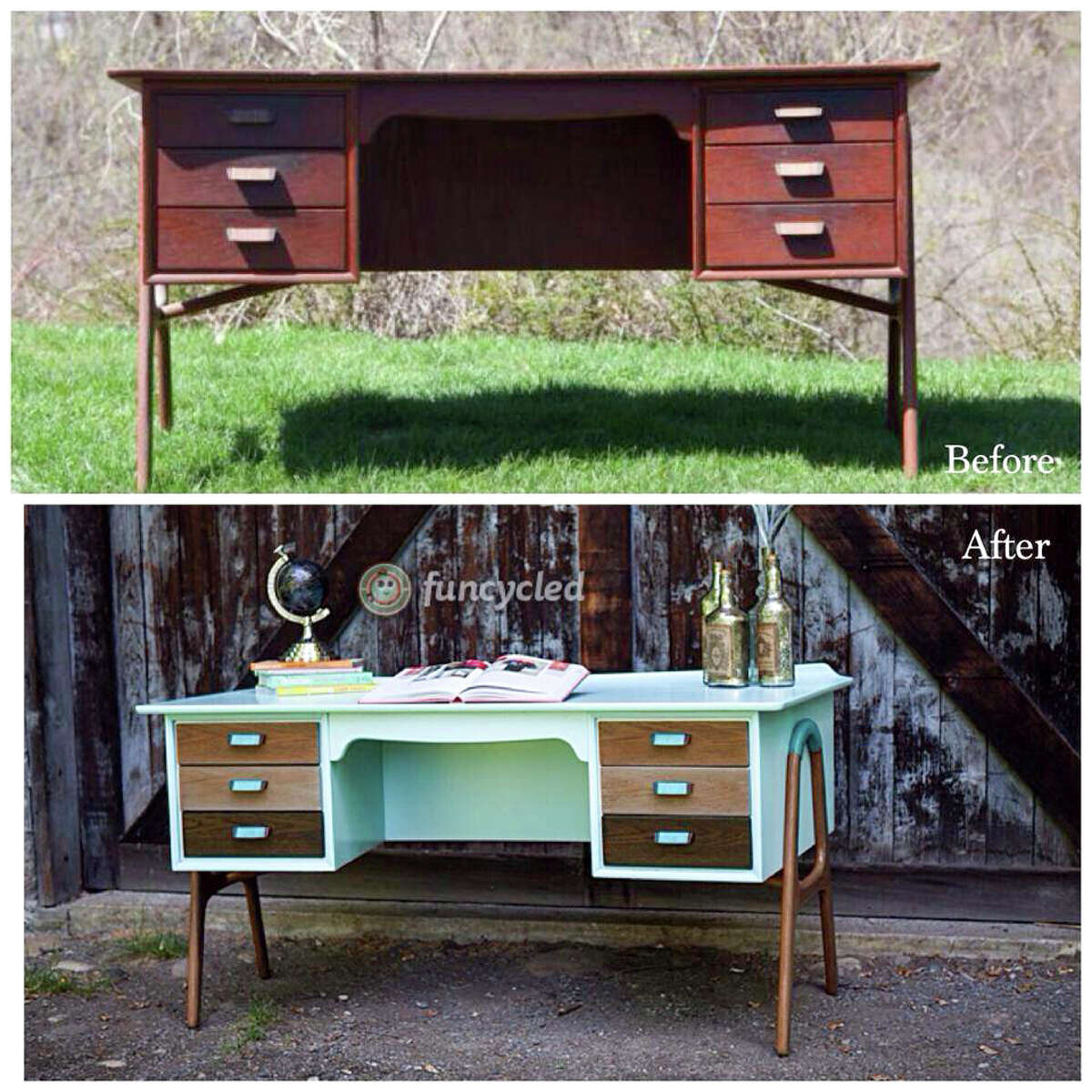Before and after of a custom ordered furniture redo by Sarah Trop of FunCycled