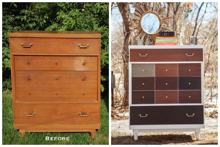 Before and after of a West Elm inspired patchwork dresser  — Made by Sarah Trop of FunCycled (funcycled.com) Photo: Chelsea Bos Photography