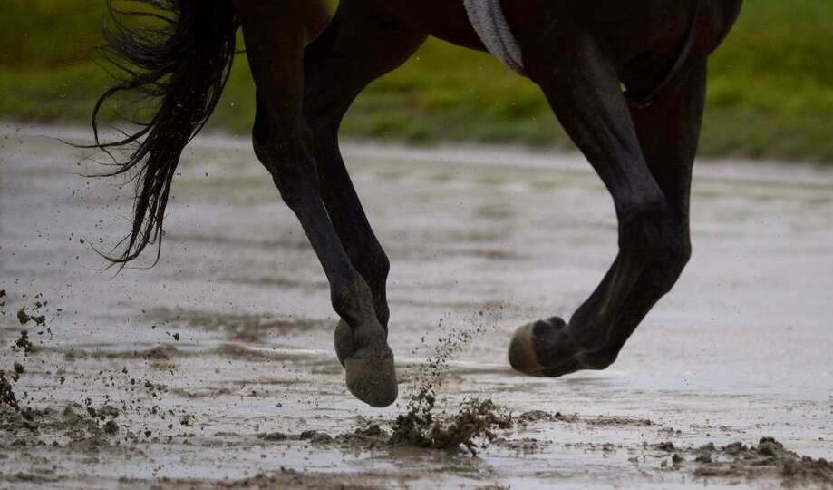 Heavy rains turned the main track at Saratoga Race Course into a sloppy mess on Thursday. (Skip Dick