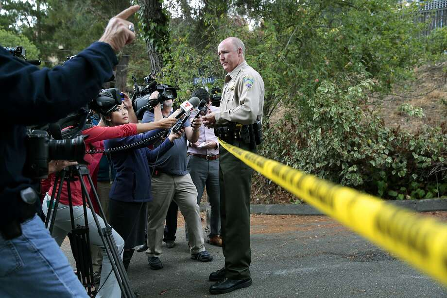 Lt. Doug Pittman of the Marin Sheriff's Department briefs the media on updates on the investigation of two male victims found in adjacent backyards. Photo: Ramin Rahimian, Special To The Chronicle