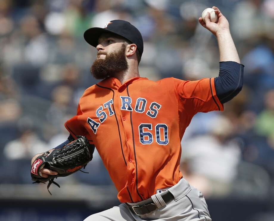 August 21: Yankees 3, Astros 0  Astros starting pitcher Dallas Keuchel tossed his fifth complete game in the loss. Photo: Kathy Willens, Associated Press