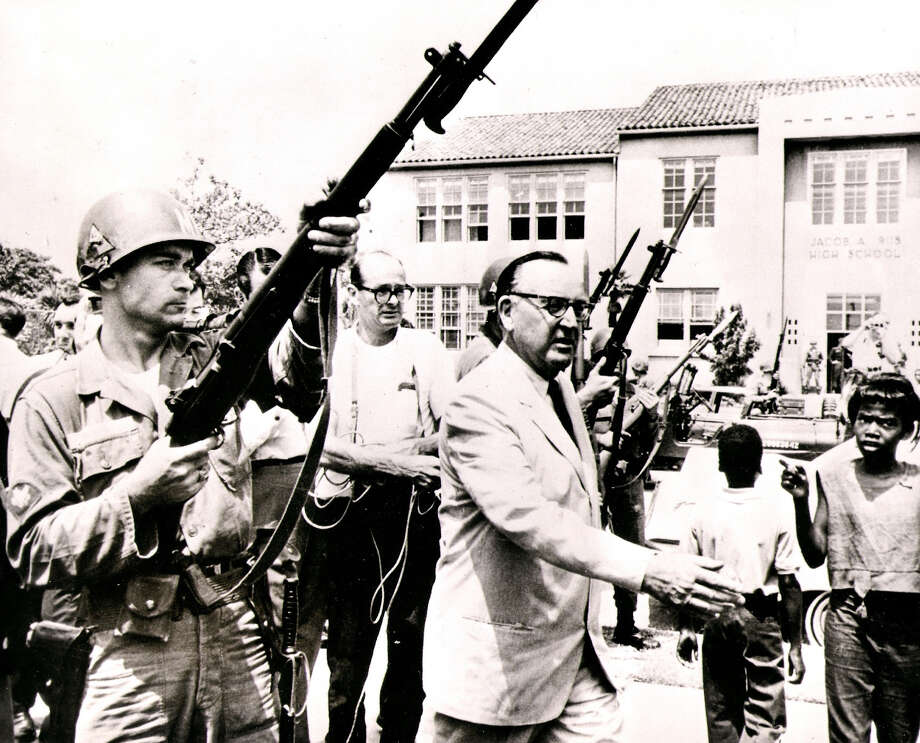 """In an undated handout photo, Pat Brown at the scene of the Watts riots in 1965. Sascha Rice directed a documentary about Brown, a former California governor who was also her grandfather, titled """"California State of Mind: The Legacy of Pat Brown."""" (Hilary Armstrong Collection via The New York Times) ORG XMIT: MER2014082112261684 Photo: HILARY ARMSTRONG COLLECTION / HILARY ARMSTRONG COLLECTION"""
