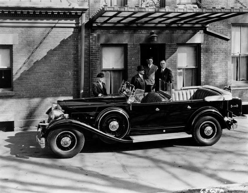 President-elect Franklin D. Roosevelt is seen here in late 1932 with the Packard he used while New York state governor. (Courtesy of John A. Conde)