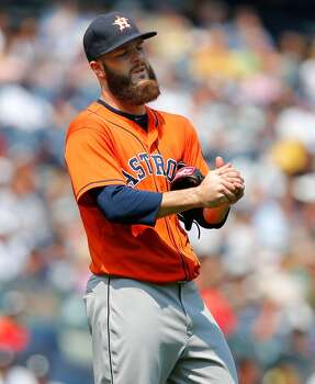 August 21: Yankees 3, Astros 0  Dallas Keuchel went the distance in a losing cause as the Yankees won the series finale.  Record: 54-74. Photo: Jim McIsaac, Getty Images