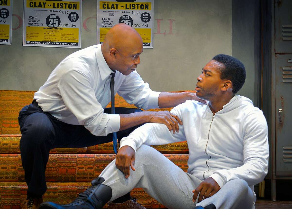 Muhammad Ali (Eddie Ray Jackson, right) consults with Stepin Fetchit (Roscoe Orman) in Marin Theatre Company's