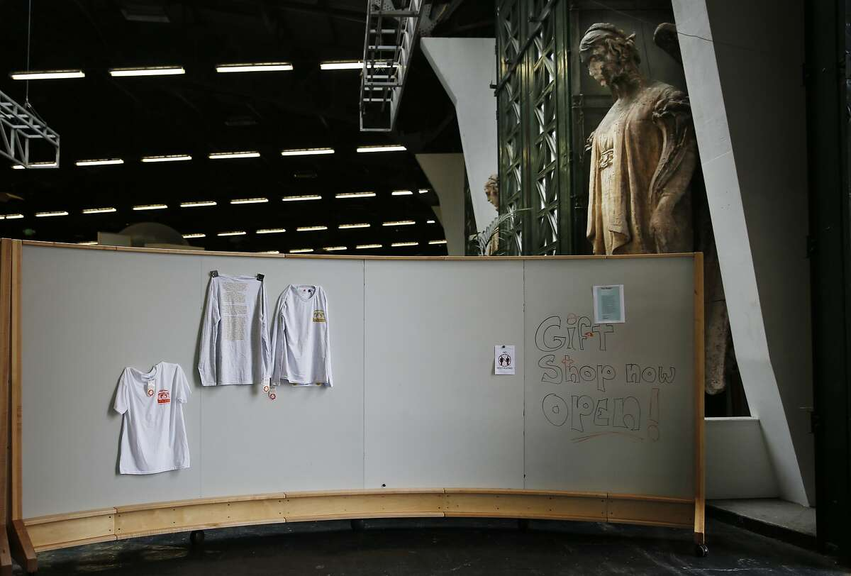 An angel from the Palace of Fine Arts stands in the iHangar space behind a mock up of the Palace of Fine Arts gift shop on Wednesday, August 20, 2014 in San Francisco, Calif.