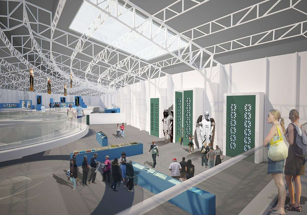 The planned upgrade to the interior of the main shed of the Palace of Fine Arts includes a contemporary pedestrian bridge and mezzanine that would be a counterpart to the historic space, including remnants of the 1915 Panama Pacific International Exposition. The architect is Mark Horton; the space is being rented through March of 2016 by Innovation Hangar
