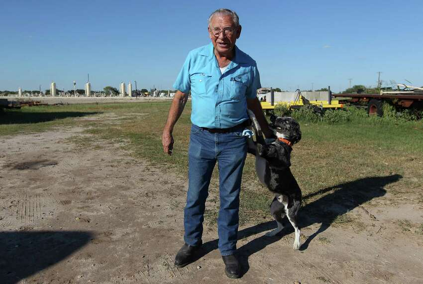 Retired Karnes City Police Chief Nolan Jonas owns property near an oil and gas collection site by Karnes City, Texas.