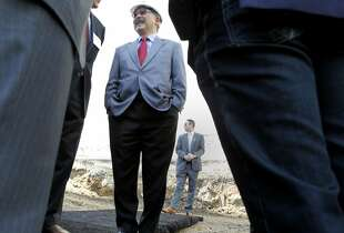 Mayor Ed Lee arrives at the ground breaking and speaks to dignitaries before giving a short speech. San Francisco Mayor Ed Lee recently attended a ground breaking ceremony for a new development at 270 Brannan Street Thursday August 14, 2014.
