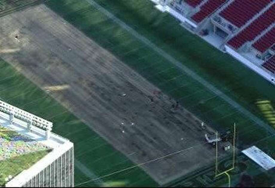 Turf at Levi's Stadium is removed after the 49ers had footing and injury problems during practice Wednesday. Photo: Courtesy Of KTVU Channel 2
