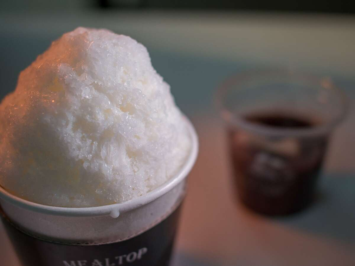 The original Korean Shaved Ice topped with red bean paste and condensed milk at Meal Top in Santa Clara, Calif., is seen on Thursday, August 14th, 2014.