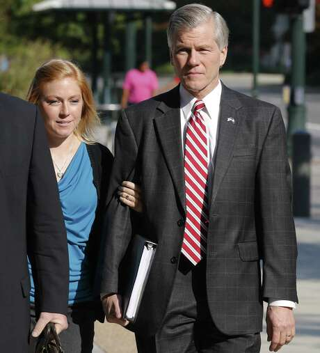 Former Virginia Gov. Bob McDonnell arrives at federal court Thursday with his daughter Cailin Young in Richmond. Photo: Steve Helber / Associated Press / AP