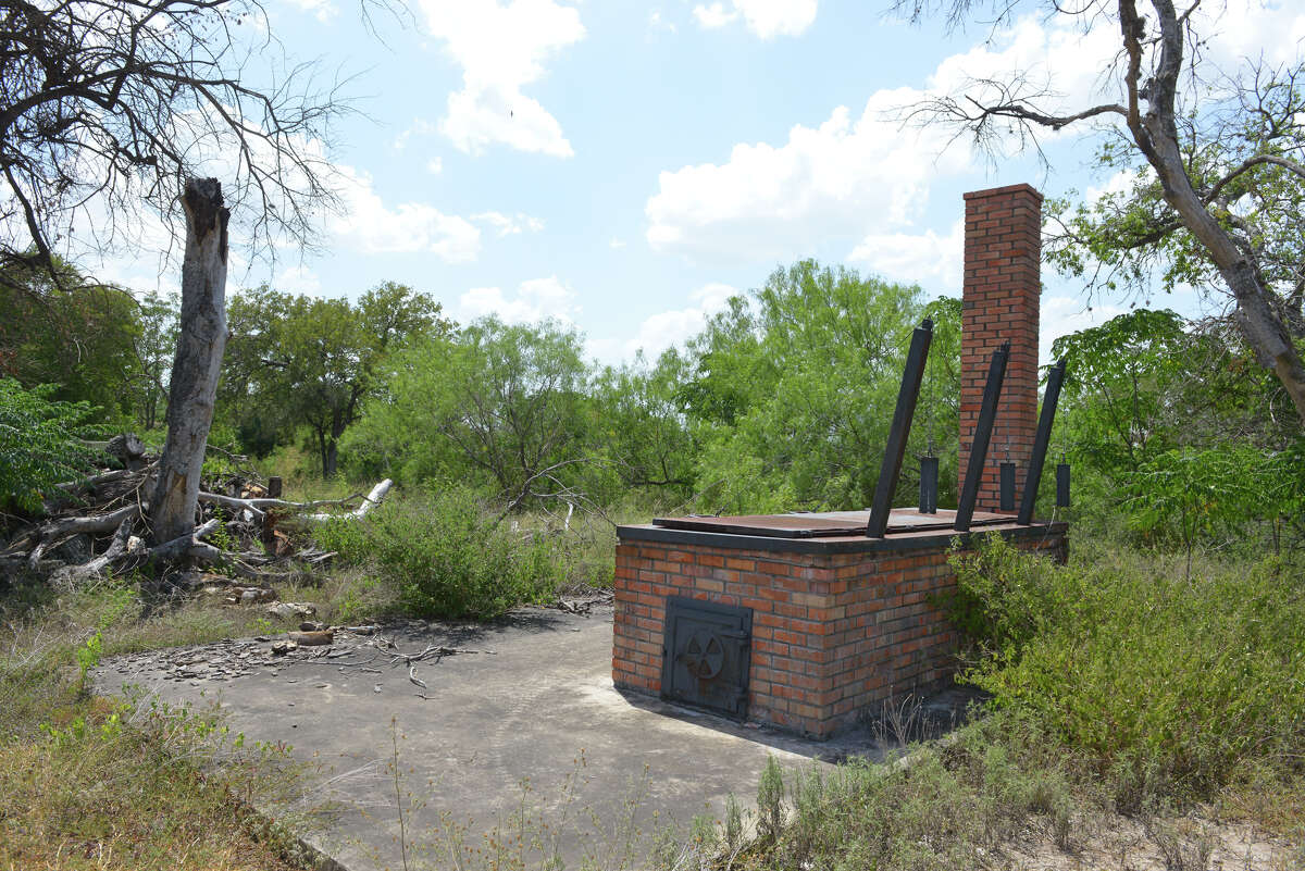 A now unused babeque pit on the grounds of The Red Berry Mansion at 856 Gembler Rd. near the ATT Center which is part of a redevelopment plan that calls for residential and commercial development.