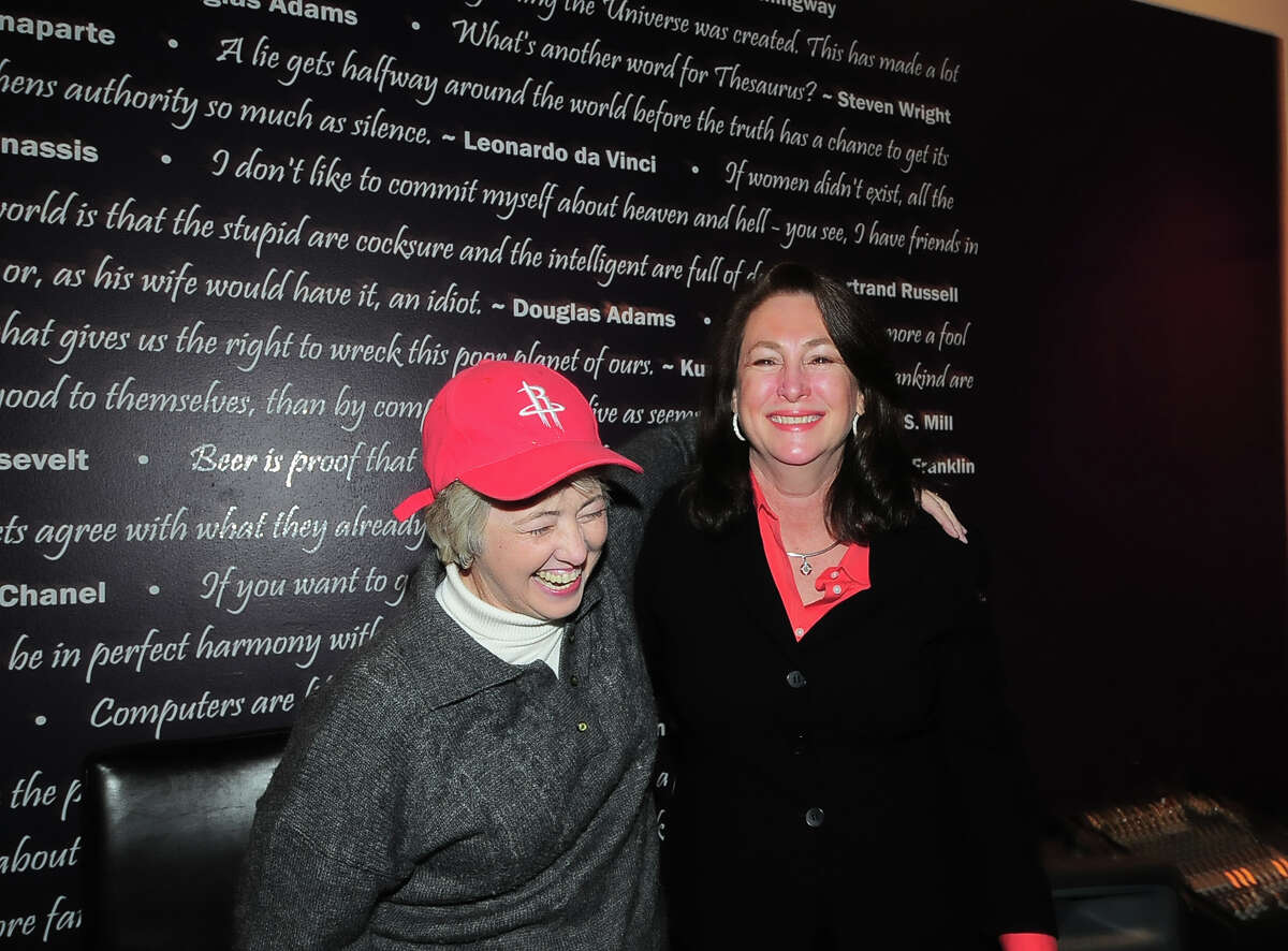 Houston mayor Anisse Parker came by to congratulate Kim Ogg at Costa's Elixir Lounge Tuesday 03/04/14. Photo by Tony Bullard.