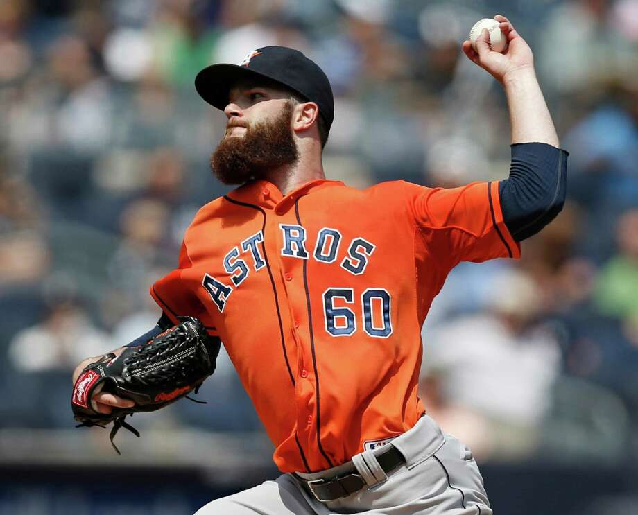 Although Dallas Keuchel didn't deliver a win Thursday, he was effective, allowing three runs on seven hits. Photo: Kathy Willens, STF / AP