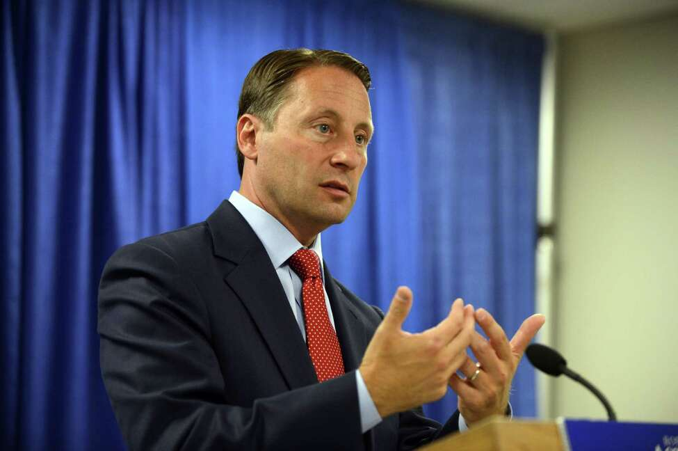Republican gubernatorial candidate Rob Astorino unveils a new economic plan aimed at improving the state's business climate and promoting growth Thursday, Aug. 21, 2014, during a news conference at the Legislative Office Building in Albany, N.Y. The plan called for a number of changes: reducing taxes and regulations, moving forward with natural gas development, investing in infrastructure, accelerating hi-tech startup-creation, modernizing the workforce, and strengthening the state's agricultural economy through tax incentives and toll breaks. (Will Waldron/Times Union)