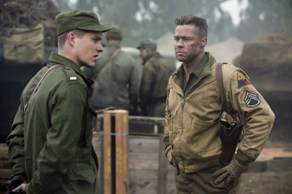 Wardaddy (Brad Pitt, right) gets his new orders from Lt. Parker (Xavier Samuel) in Columbia Pictures'
