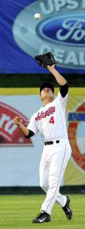 ValleyCats' short stop Mott Hyde catches a fly ball during their baseball game against the  Vermont Lake Monsters on Thursday, Aug. 21, 2014, at Bruno Stadium in Troy, N.Y. (Cindy Schultz / Times Union) Photo: Cindy Schultz / 00028231A