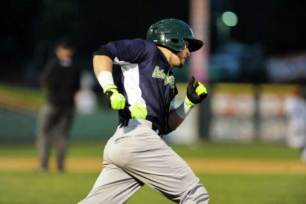 Vermont Lake Monsters' J.P. Sportman of Schenectady rounds first when he hits a double during their baseball game against the ValleyCats on Thursday, Aug. 21, 2014, at Bruno Stadium in Troy, N.Y. (Cindy Schultz / Times Union) Photo: Cindy Schultz / 00028231A
