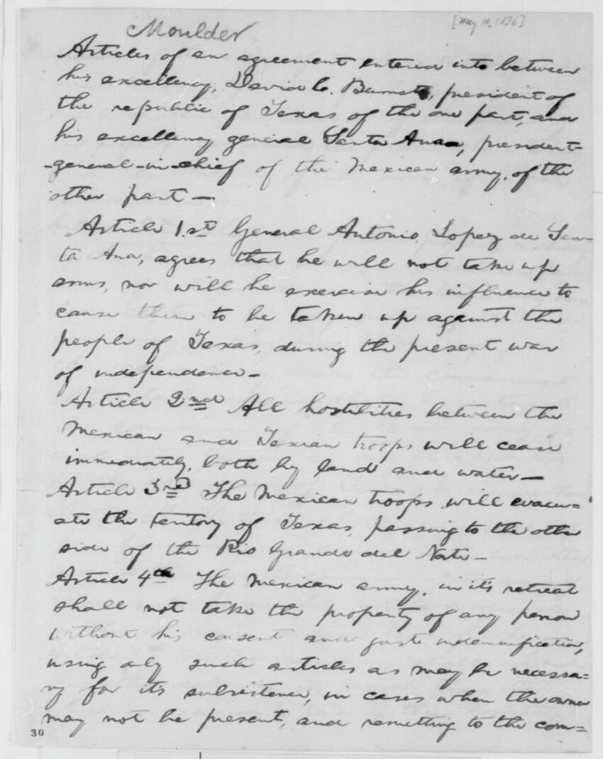 1836 - Then just a fledgling general store owner and aspiring local politician, a young Abraham Lincoln is inspired to sit down and rewrite the the Treaty between Texas and Mexico by hand.