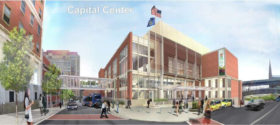 The final rendering of the $66.5 million Albany Capital Center set to rise off Eagle Street starting as soon as next month. The image, drawn by project architect HNTB, was released Friday by the Albany Convention Center Authority. (Albany Convention Center Authority)
