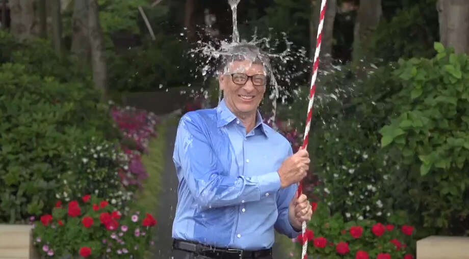 Billionaire Bill Gates built a contraption to do the ice bucket challenge.Video posted on YouTube by: Bill Gates Photo: YouTube