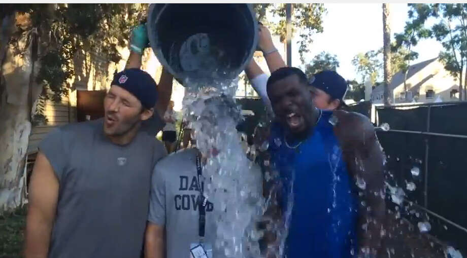 Cowboys players Tony Romo and Dez Bryant did the challenge as a group.Video posted on YouTube by: ThrowUpTheX Photo: YouTube
