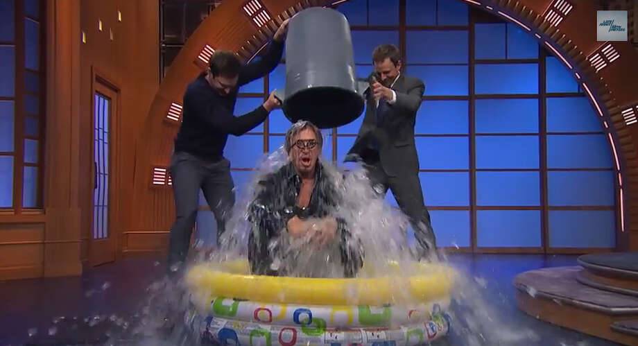 Actor Mickey Rourke takes the ALS Ice Bucket Challenge on 'Late Night with Seth Meyers,' but Meyers does not.Video posted on YouTube by: Late Night with Seth Meyers Photo: YouTube