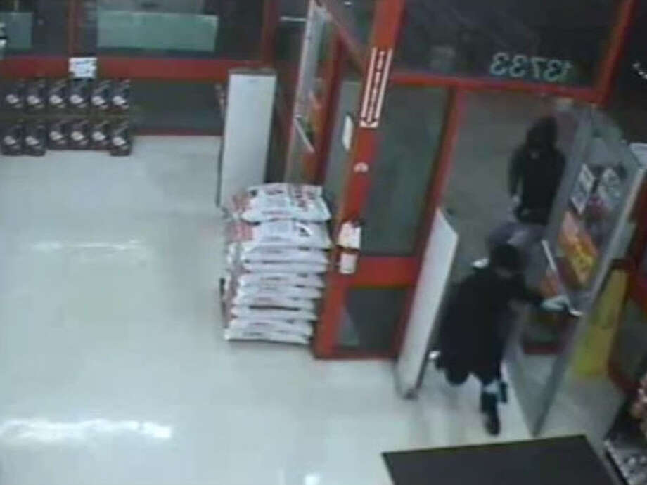 Surveillance video captured a violent armed robbery last month at an auto parts store in southwest Houston. The heist happened 9:50 p.m. May 22 at the store in the 13700 block of Bissonnet, according to the Harris County Sheriff's Office. Photo: Crime Stoppers Of Houston