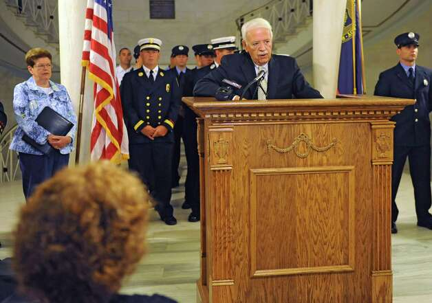 Public Safety Commissioner Wayne Bennett speaks during a press conference announcing several new hires and promotions for the Schenectady Fire Department at City Hall on Friday, Aug. 22, 2014, in Schenectady, N.Y. (Lori Van Buren / Times Union) Photo: Lori Van Buren / 00028293A