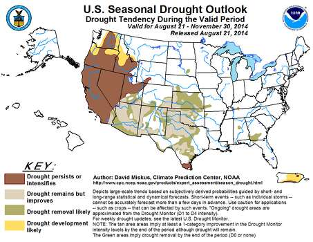 The Climate Prediction Center states that drought conditions in Texas will most likely improve or end by the end of the year, except for the state's southern tip. Photo: Courtesy/NOAA