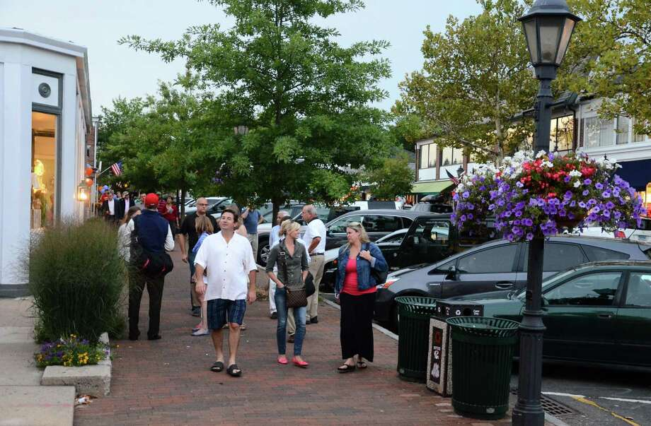 "More than 500 strollers gathered in downtown New Canaan, Conn., Thursday, Aug. 21, 2014, for the annual Taste of the Town Stroll, also known as a ""food-raiser. Every year, the event helps collect food donations to the New Canaan Food Pantry. Photo: Nelson Oliveira / New Canaan News"