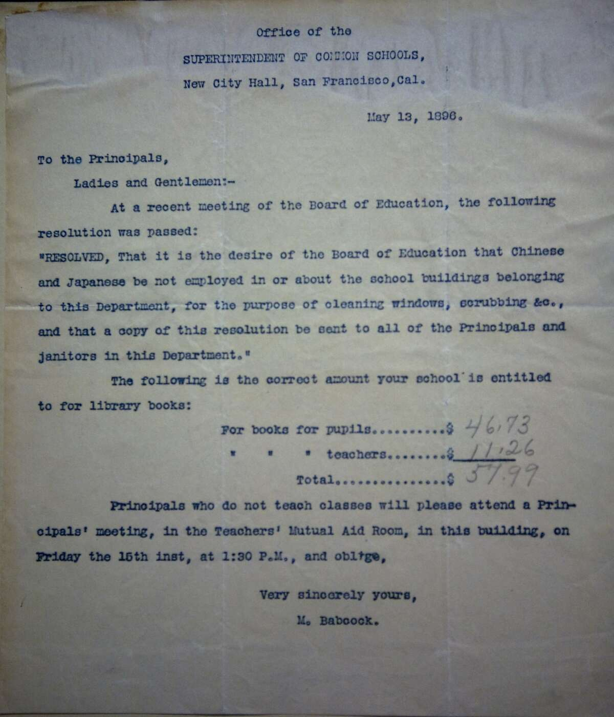 An 1896 letter from the San Francisco Superintendent of Common Schools advises school principals that Japanese and Chinese are not to be employed in area schools. The document is part of the San Francisco Public Library Archive as seen on Friday, Jan. 23, 2009.