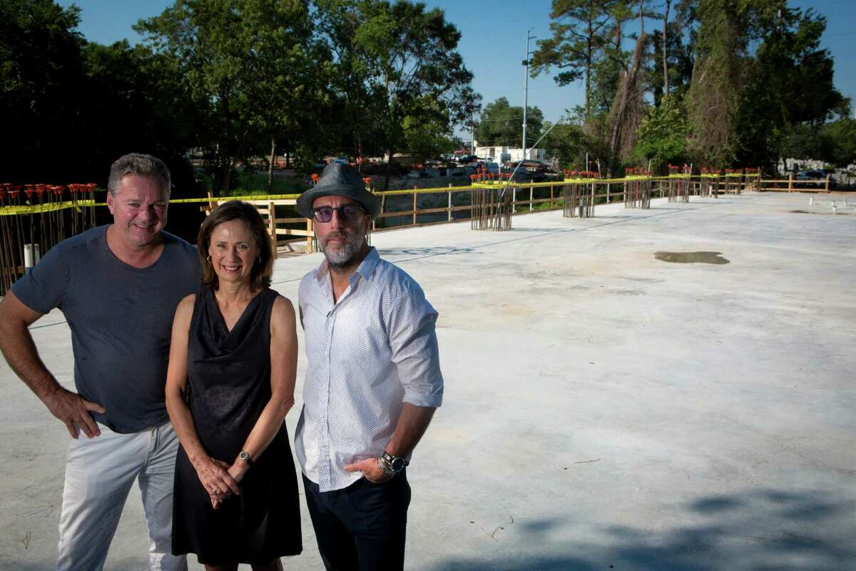 From left, Charles Clark, Sis Johnson and Grant Cooper plan the Dunlavy for this site in Buffalo Bayou Park.