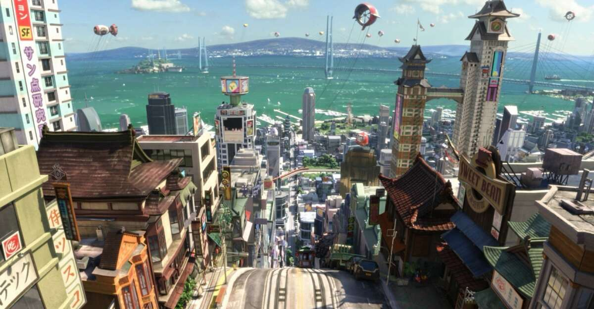 """""""Big Hero 6"""" features the bustling multicultural city of San Fransokyo."""