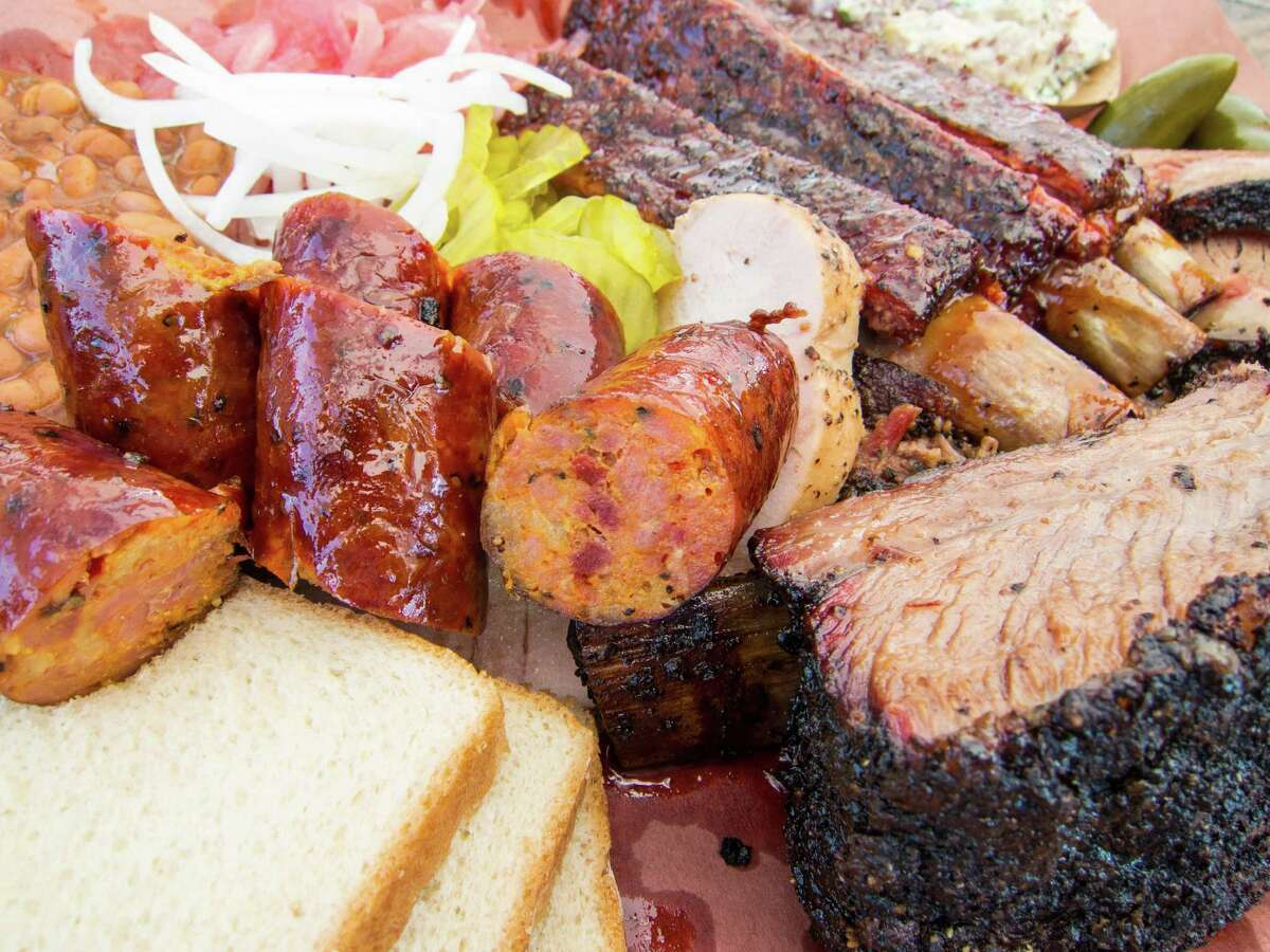 A spread of barbecue made by John Lewis at La Barbecue in Austin.