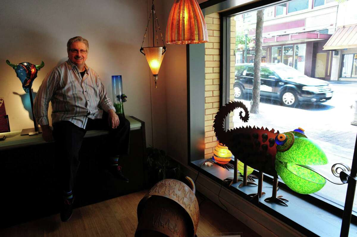 Phillip Schrank, owner of Gallery Vetro!, sells unique items out of his downtown shop.