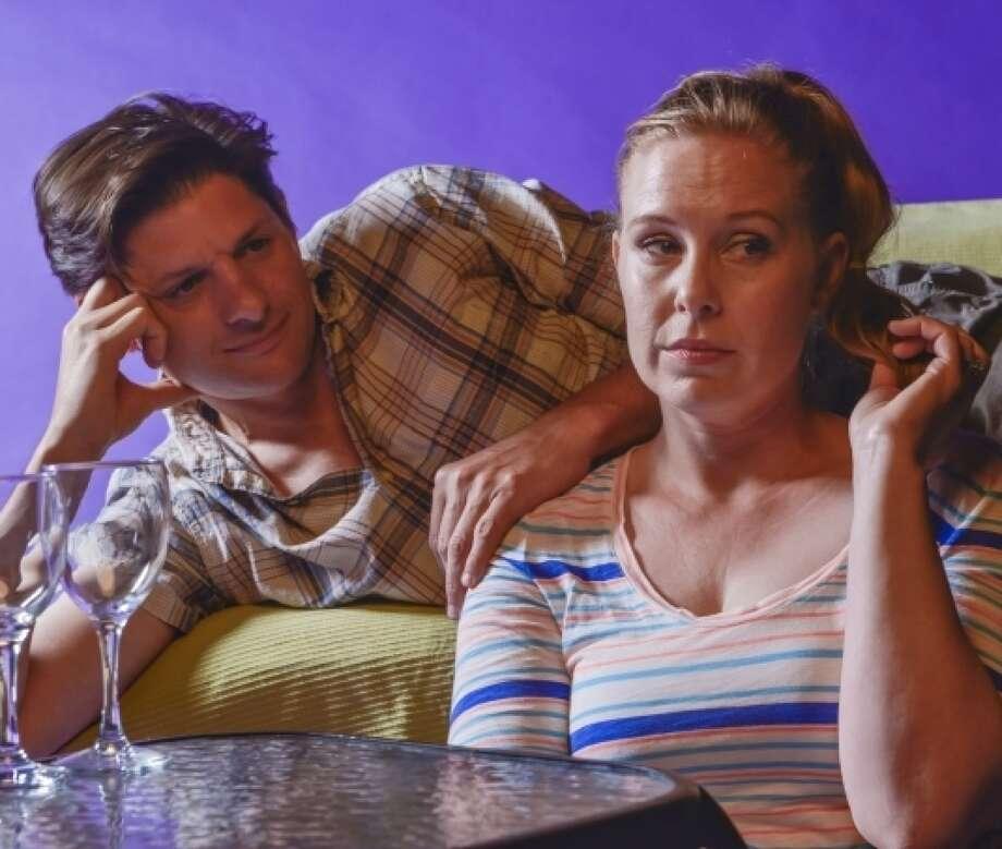 Don (Gabriel Marin*) tries to persuade a frustrated Gwen (Rebecca Schweitzer*) to loosen up in Rapture, Blister, Burn Photo: David Allen / ONLINE_YES